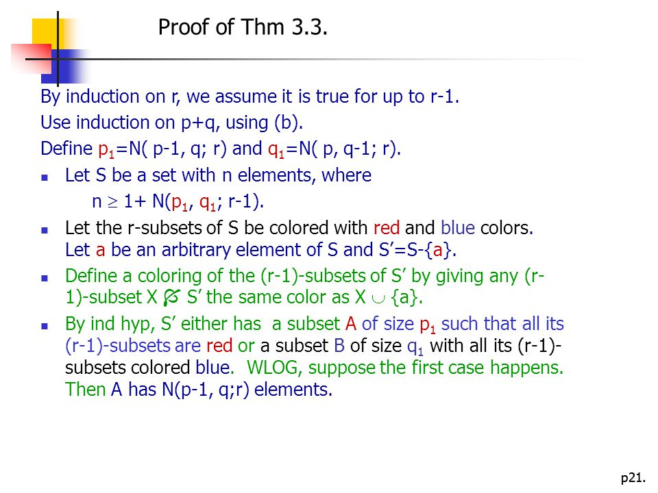 Proof of Thm 3.3. By induction on r, we assume it is true for up to r-1. Use induction on p+q, using (b).