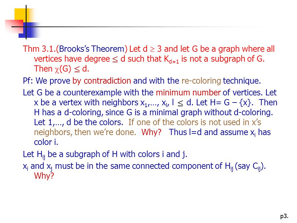 Thm 3.1.(Brooks's Theorem) Let d  3 and let G be a graph where all vertices have degree ≤ d such that Kd+1 is not a subgraph of G. Then (G) ≤ d.