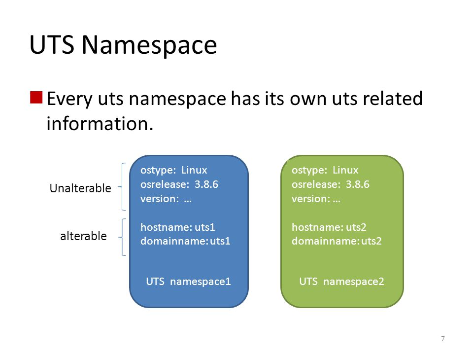 UTS Namespace Every uts namespace has its own uts related information.