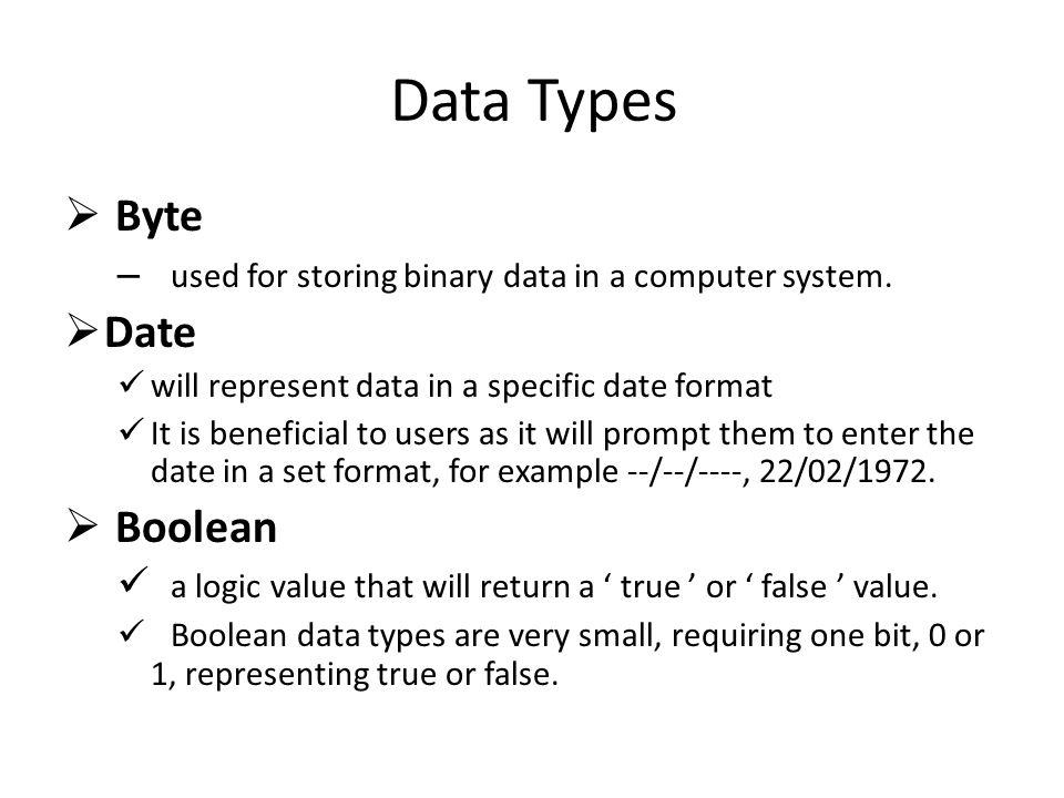 Data Types Byte Date Boolean