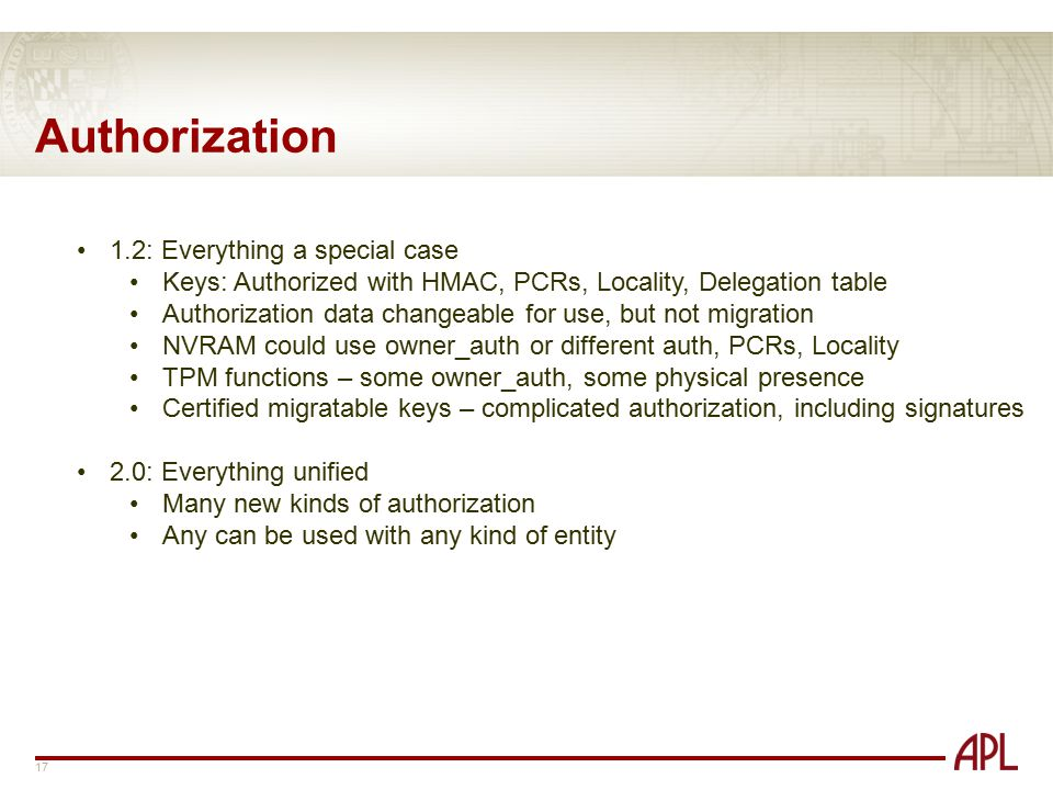 Authorization 1.2: Everything a special case