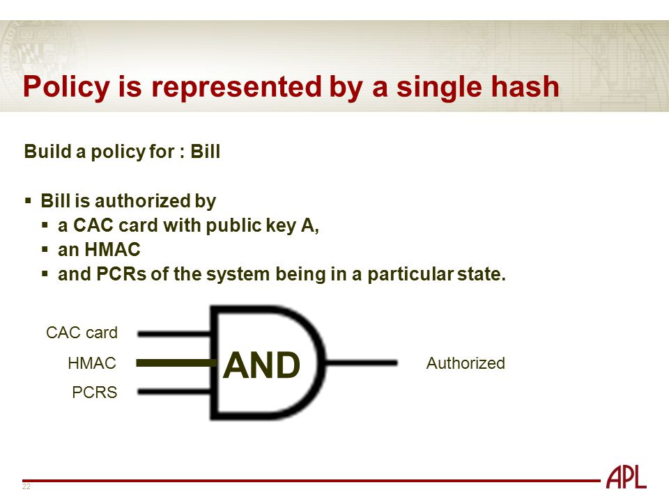 Policy is represented by a single hash