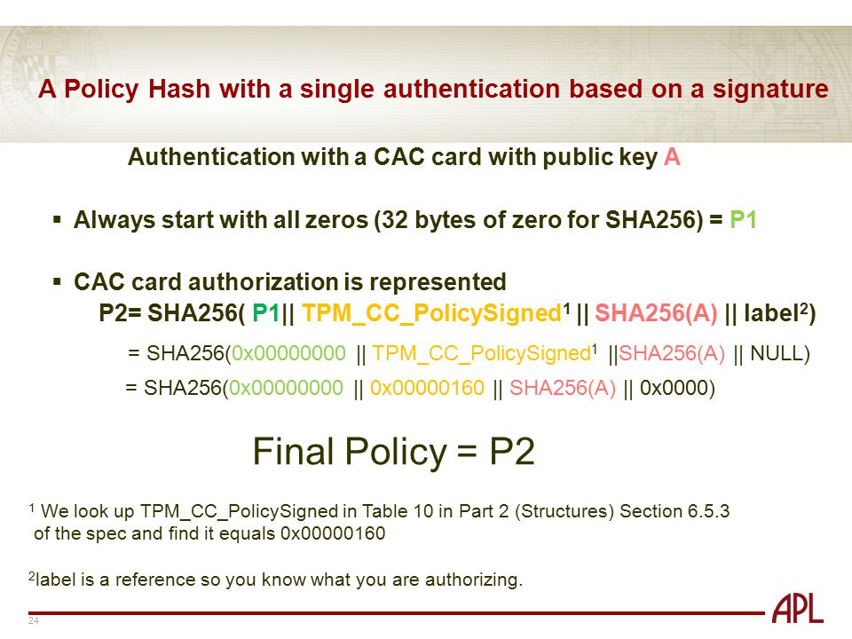 A Policy Hash with a single authentication based on a signature