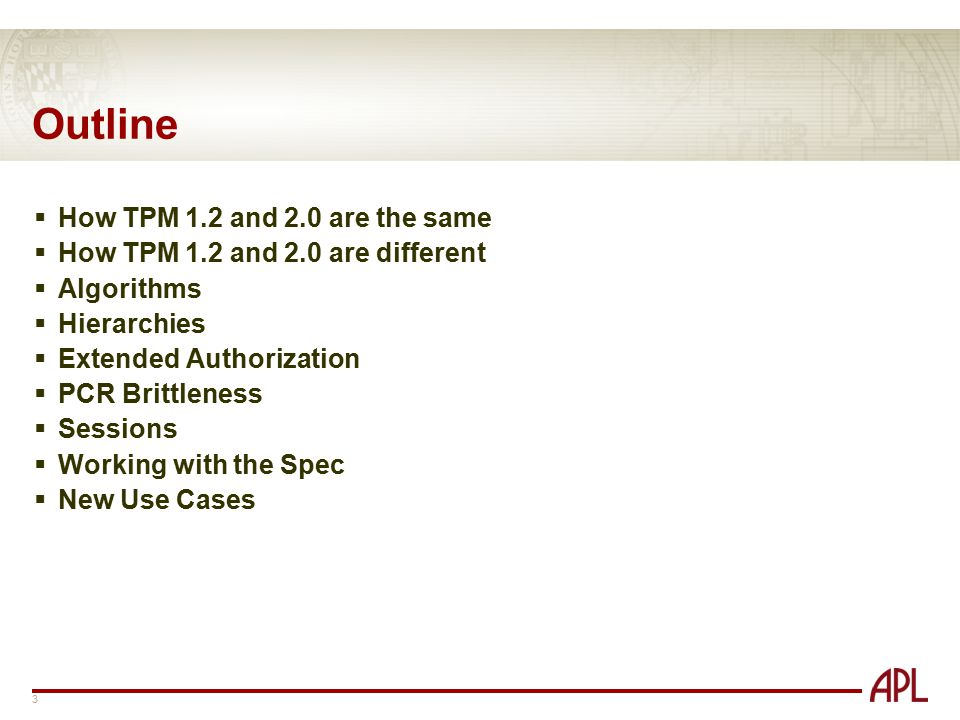 Outline How TPM 1.2 and 2.0 are the same