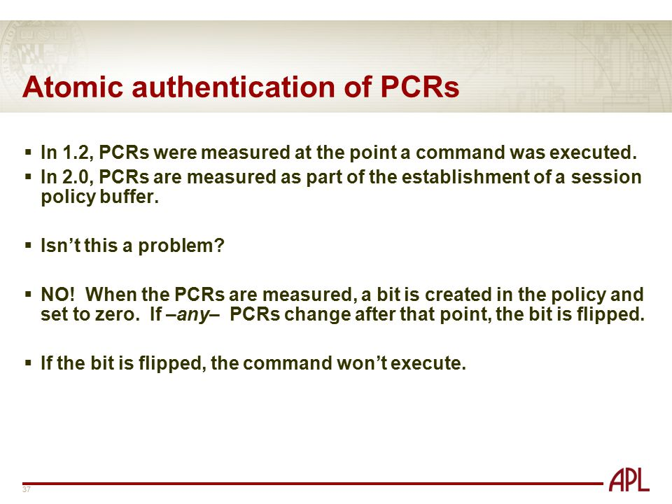 Atomic authentication of PCRs