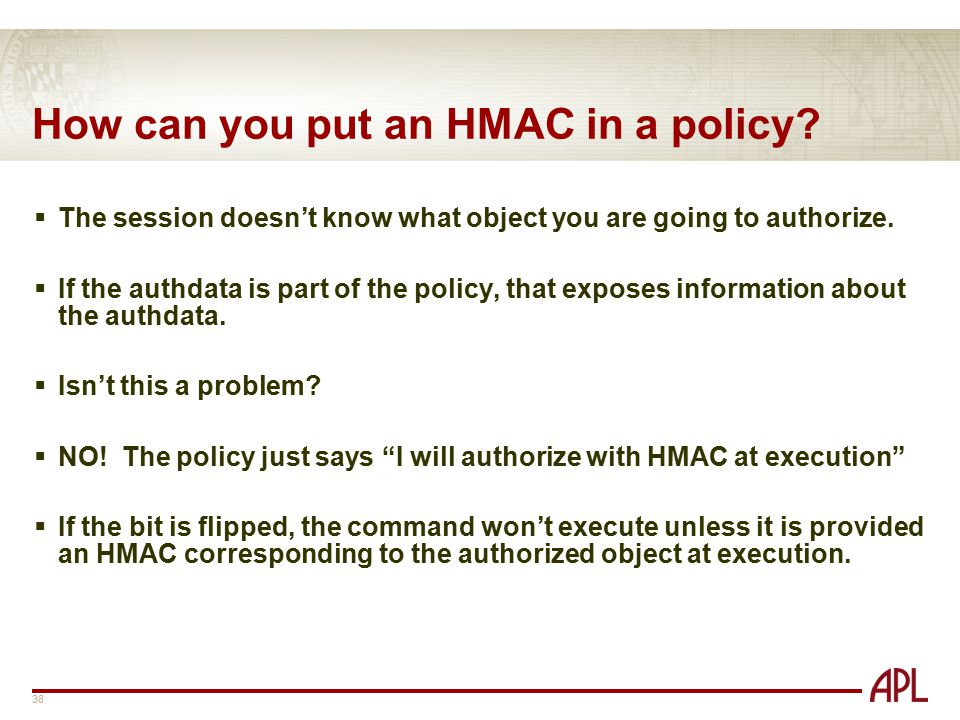 How can you put an HMAC in a policy