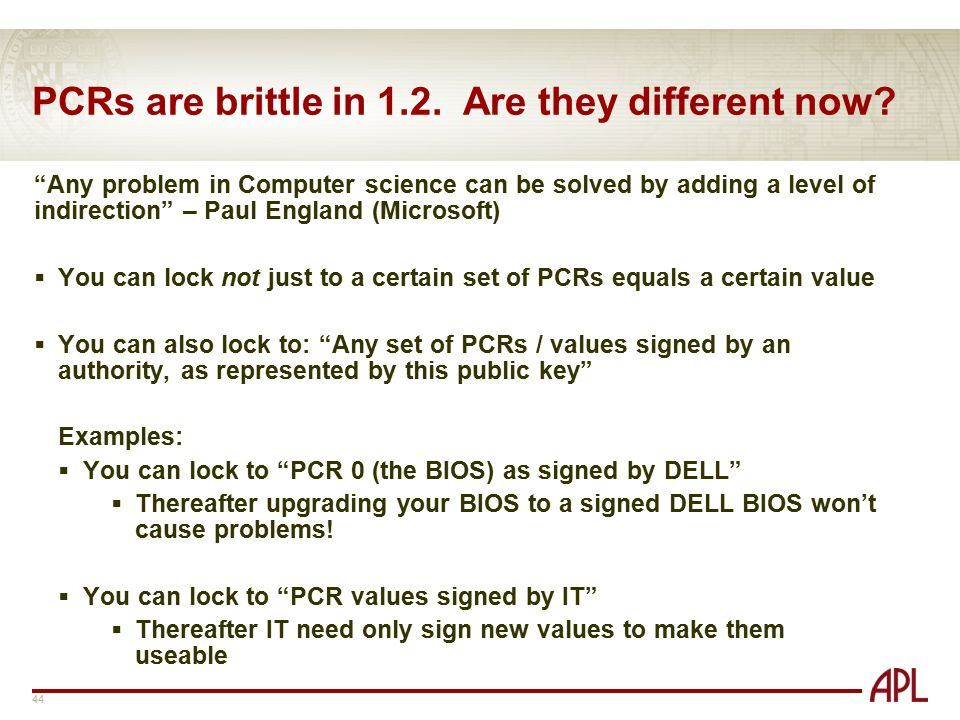PCRs are brittle in 1.2. Are they different now