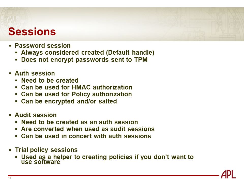 Sessions Password session Always considered created (Default handle)