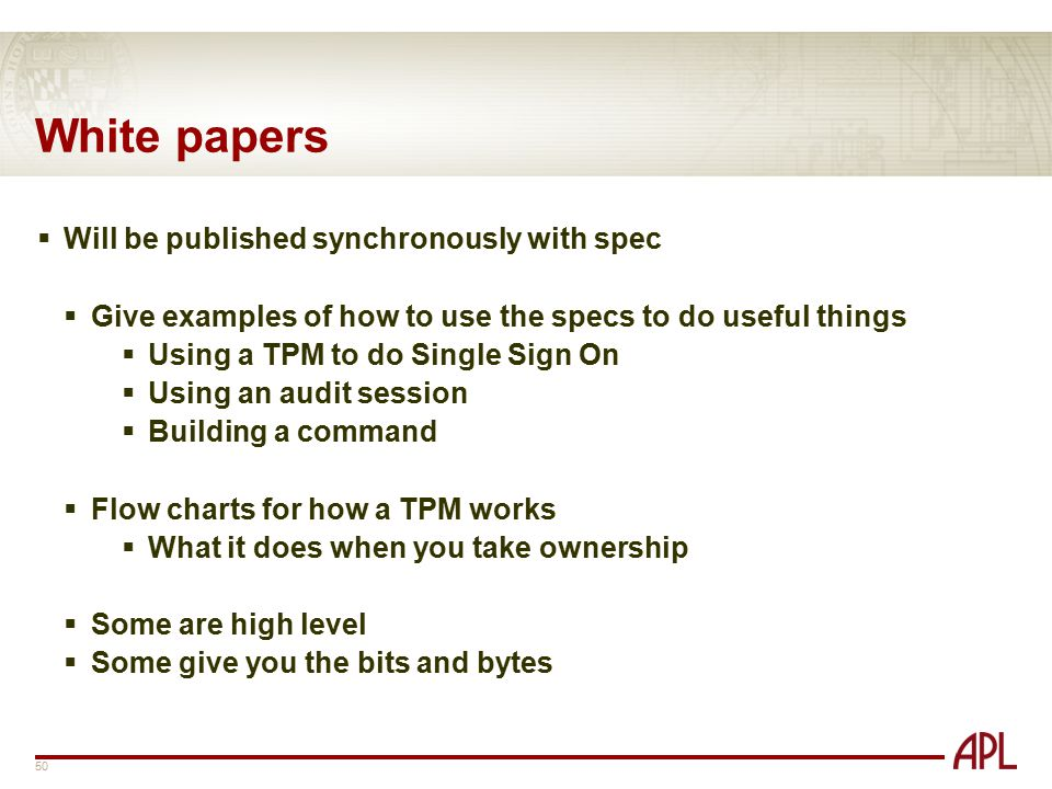 White papers Will be published synchronously with spec
