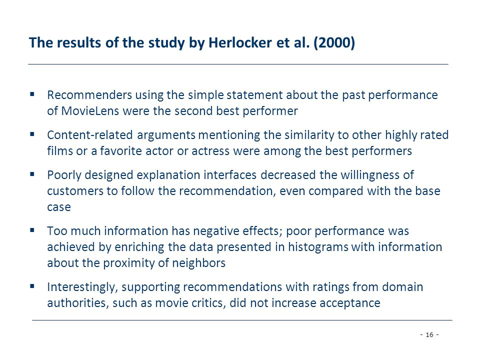 The results of the study by Herlocker et al. (2000)