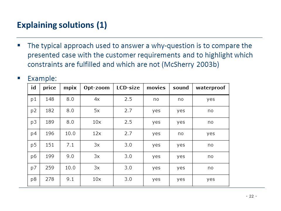 Explaining solutions (1)