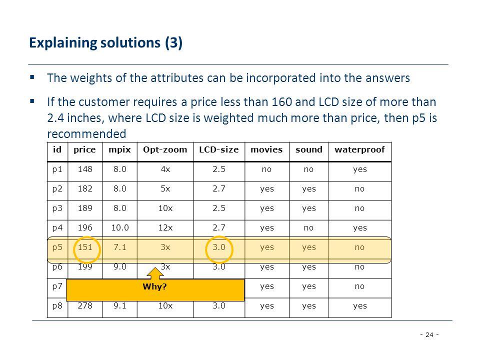 Explaining solutions (3)