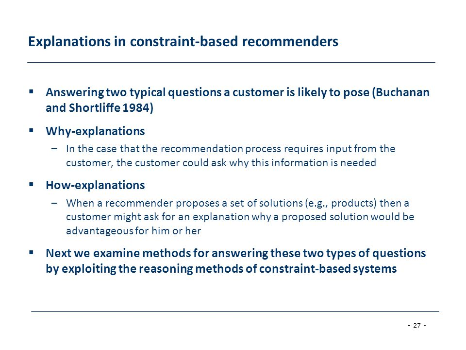 Explanations in constraint-based recommenders