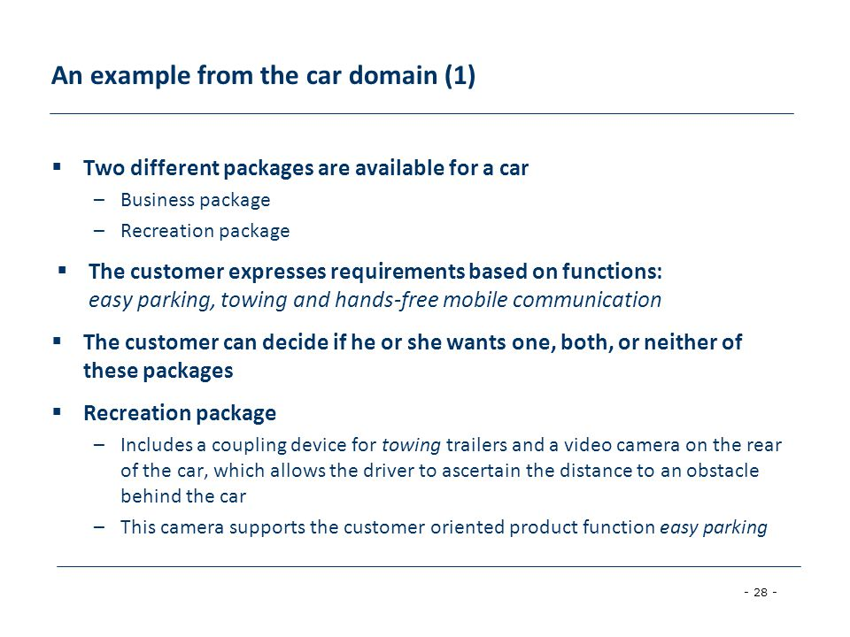 An example from the car domain (1)