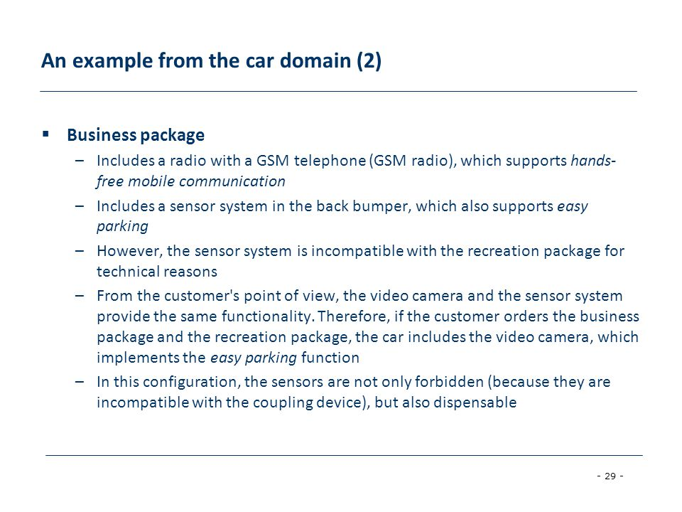 An example from the car domain (2)