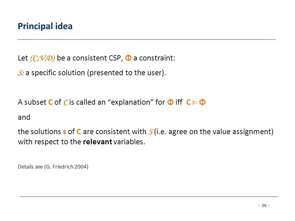 Principal idea Let (C,V,D) be a consistent CSP, Φ a constraint: