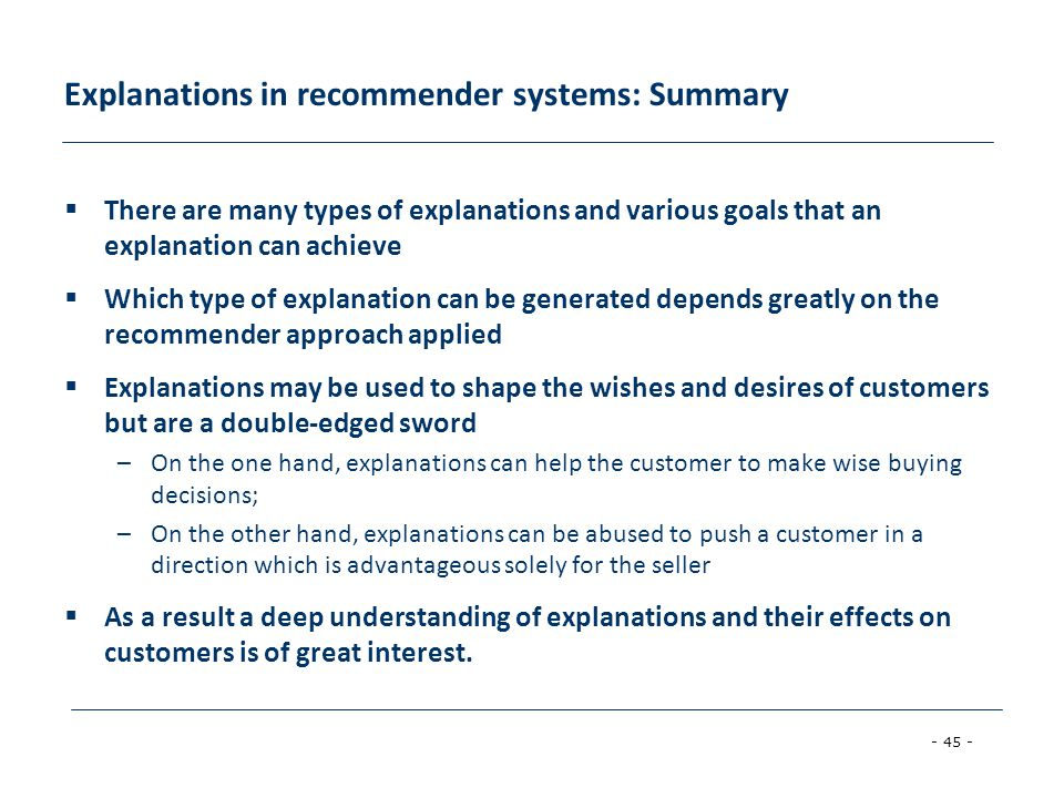 Explanations in recommender systems: Summary
