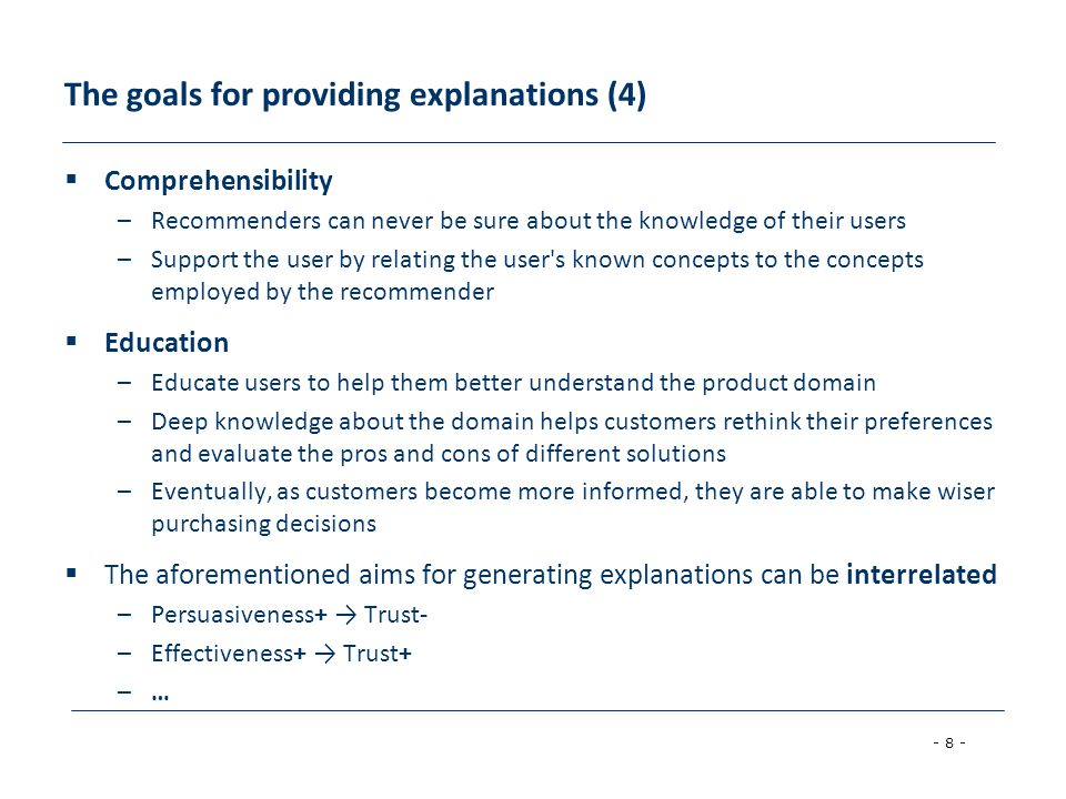 The goals for providing explanations (4)