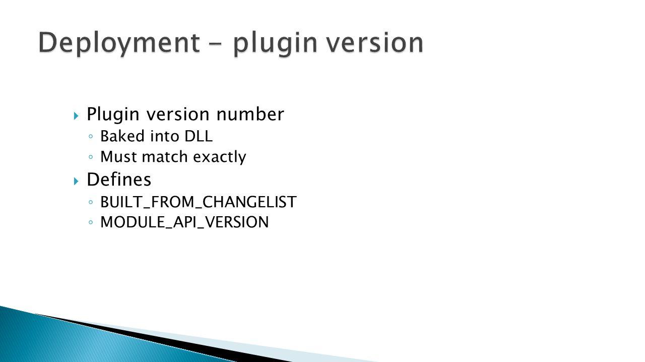 Deployment - plugin version