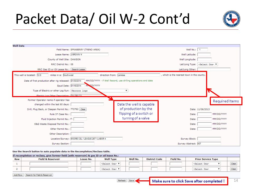 Packet Data/ Oil W-2 Cont'd
