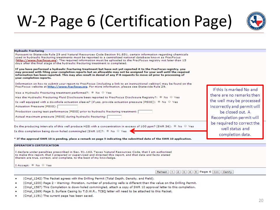 W-2 Page 6 (Certification Page)