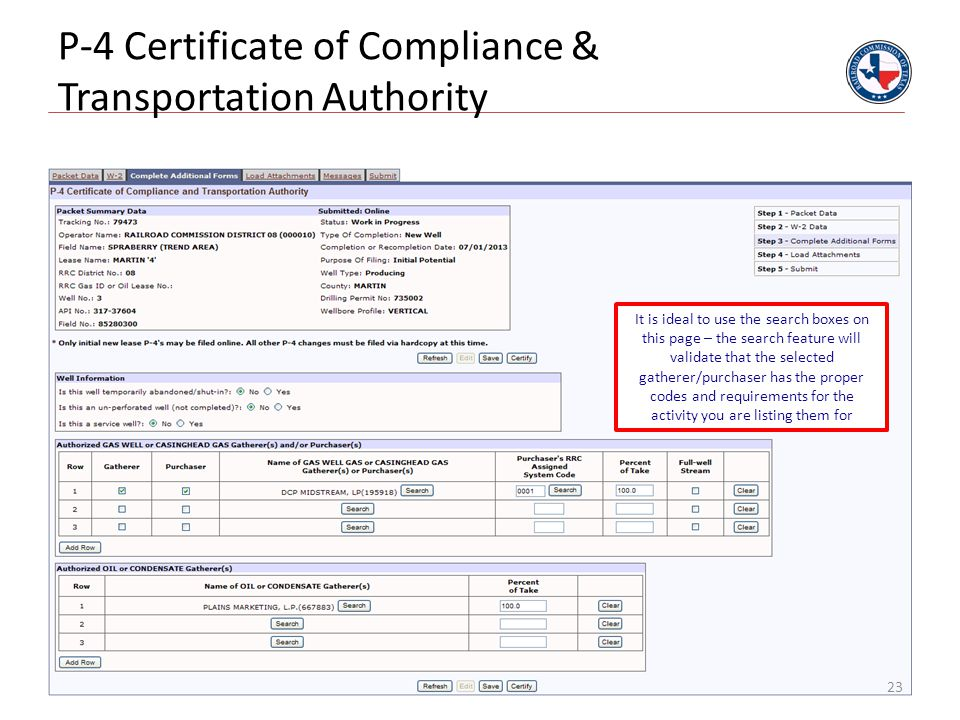 P-4 Certificate of Compliance & Transportation Authority