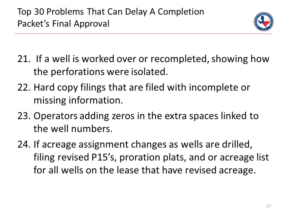 Top 30 Problems That Can Delay A Completion Packet's Final Approval