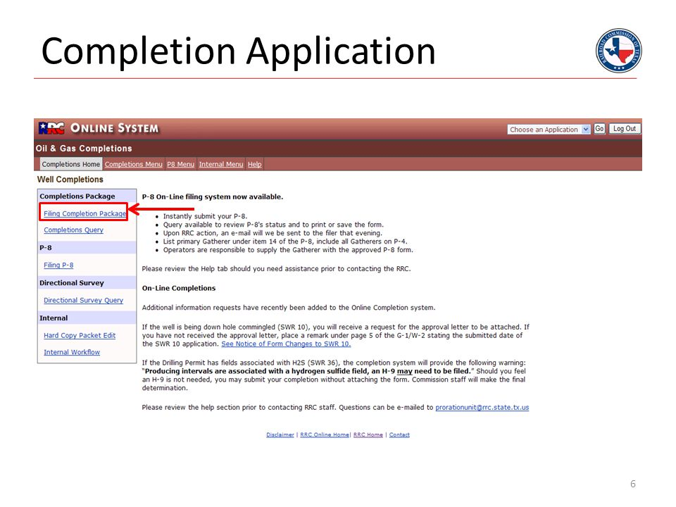 Completion Application
