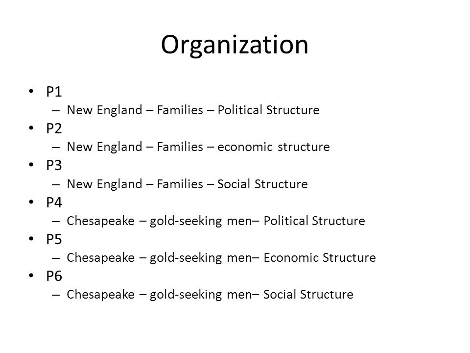 Organization P1. New England – Families – Political Structure. P2. New England – Families – economic structure.