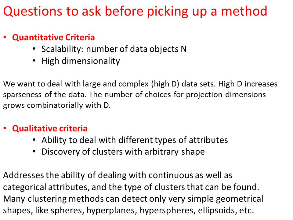 Questions to ask before picking up a method