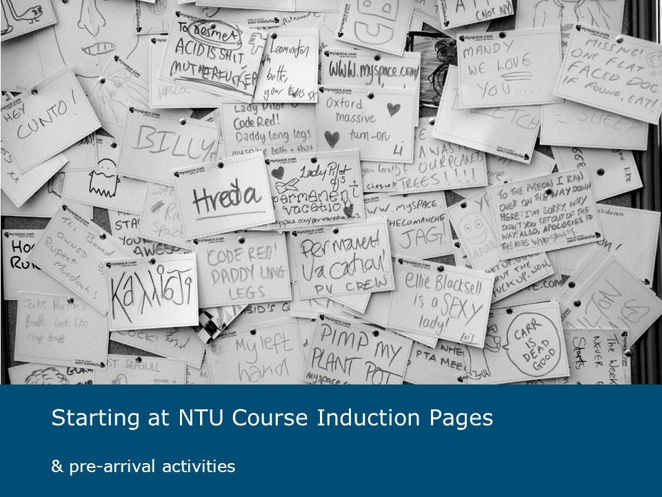 Starting at NTU Course Induction Pages