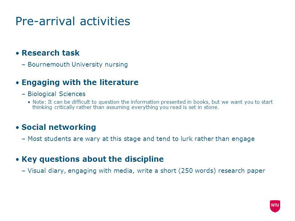 Pre-arrival activities