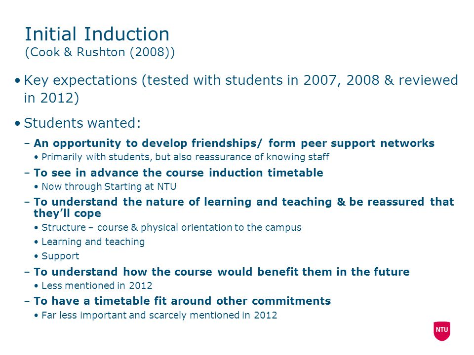 Initial Induction (Cook & Rushton (2008))