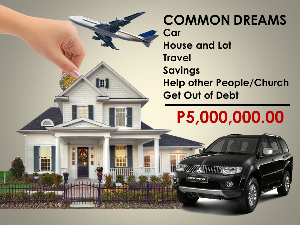 P5,000, COMMON DREAMS Car House and Lot Travel Savings