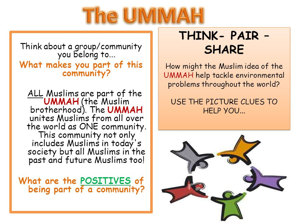 The UMMAH THINK- PAIR –SHARE What makes you part of this community