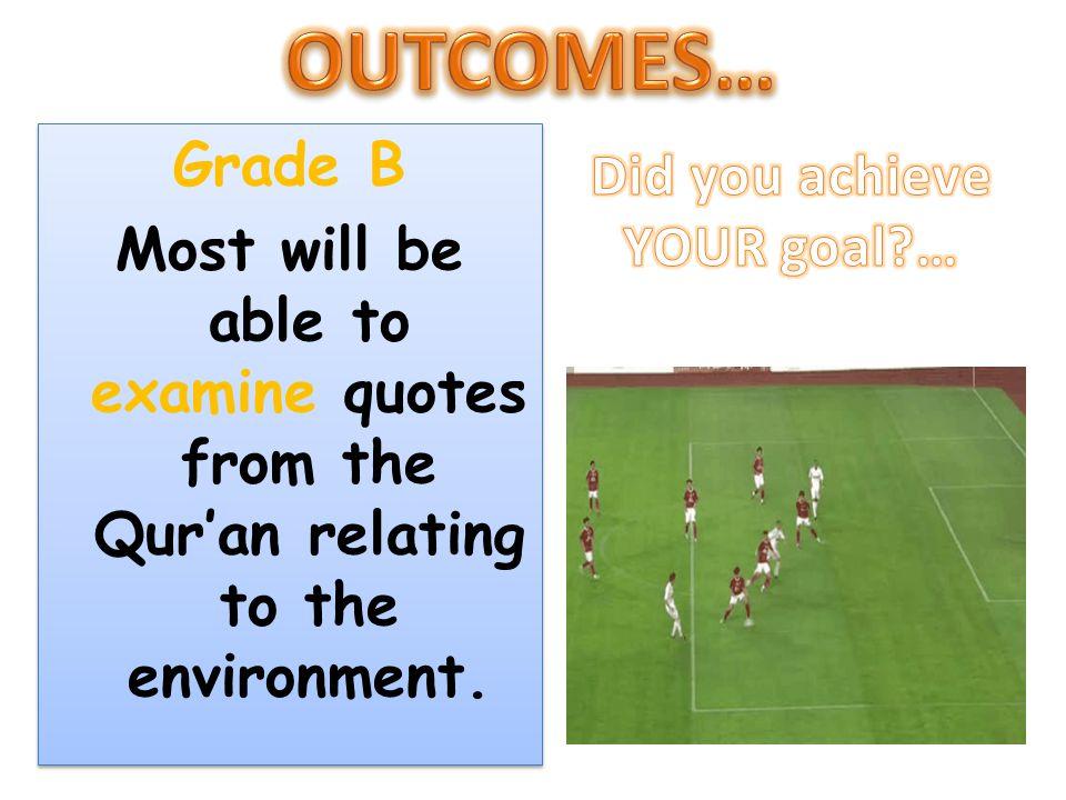 OUTCOMES… Grade B Did you achieve