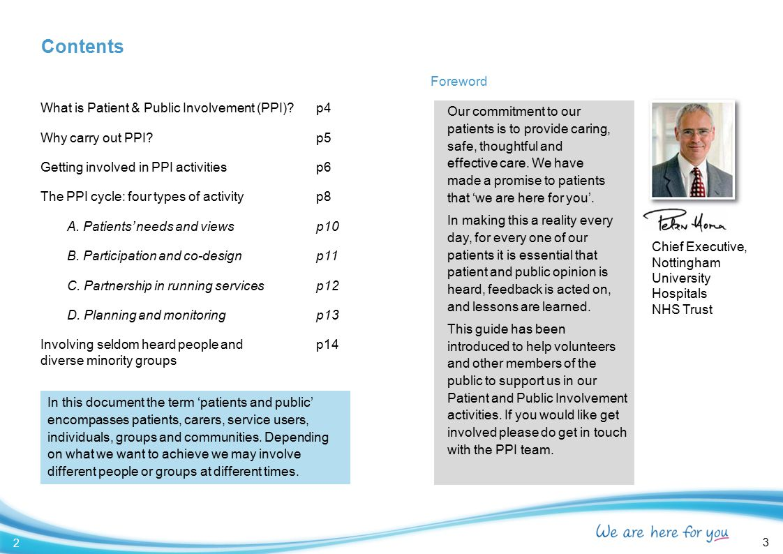 Contents Foreword What is Patient & Public Involvement (PPI) p4