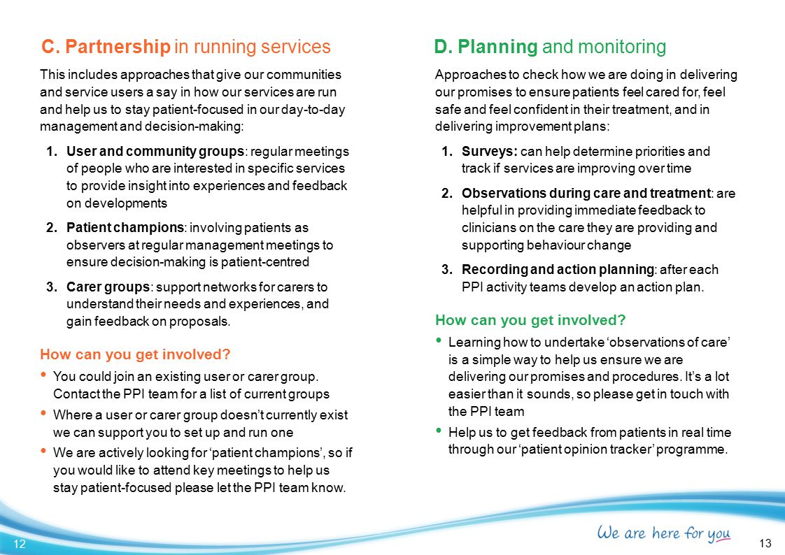 C. Partnership in running services D. Planning and monitoring