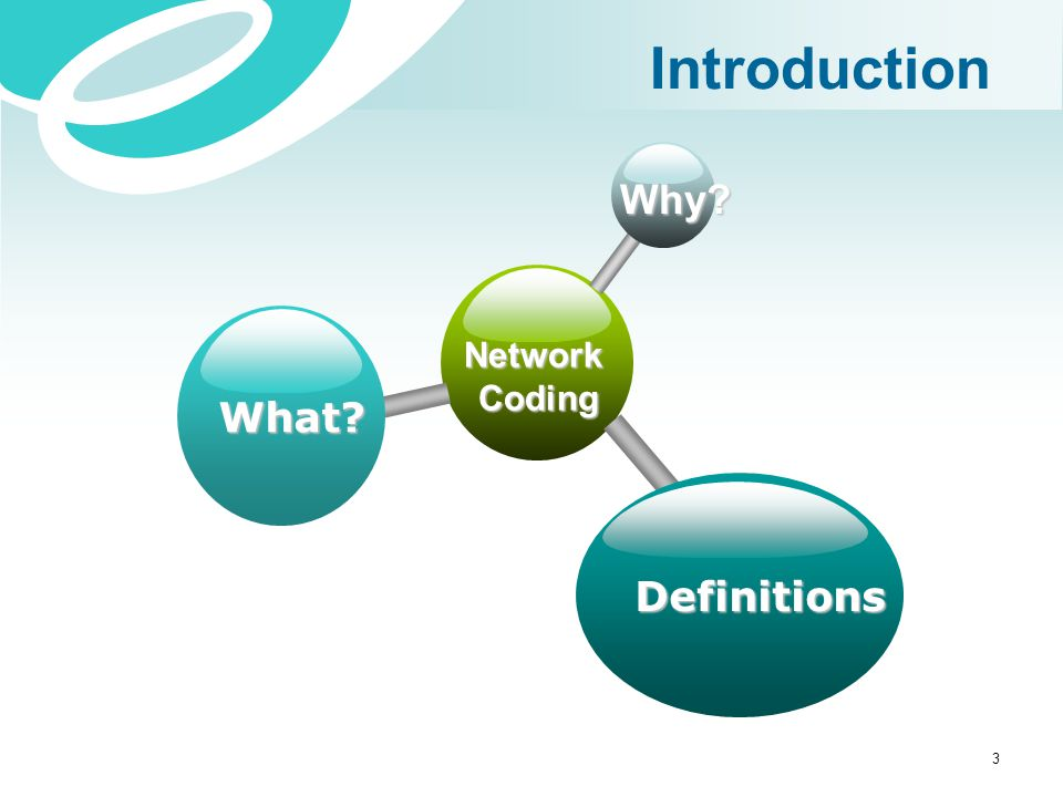 Introduction Why Network Coding What Definitions