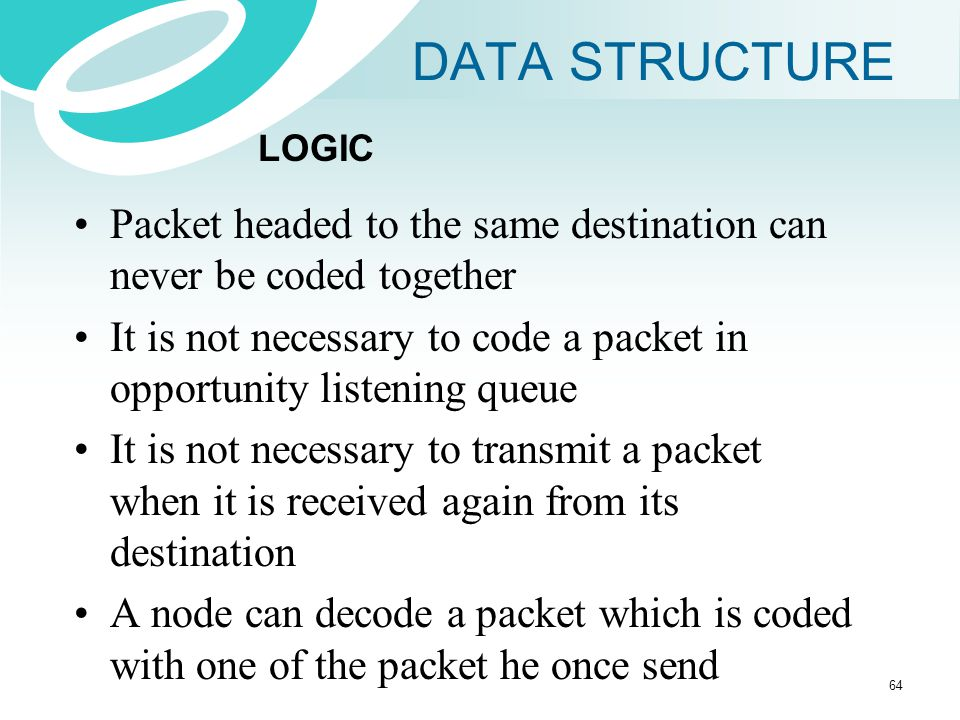 DATA STRUCTURE LOGIC. Packet headed to the same destination can never be coded together.