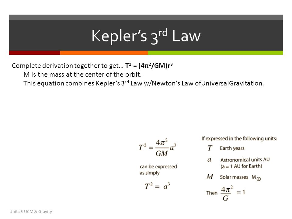 Kepler's 3rd Law Complete derivation together to get… T2 = (4π2/GM)r3