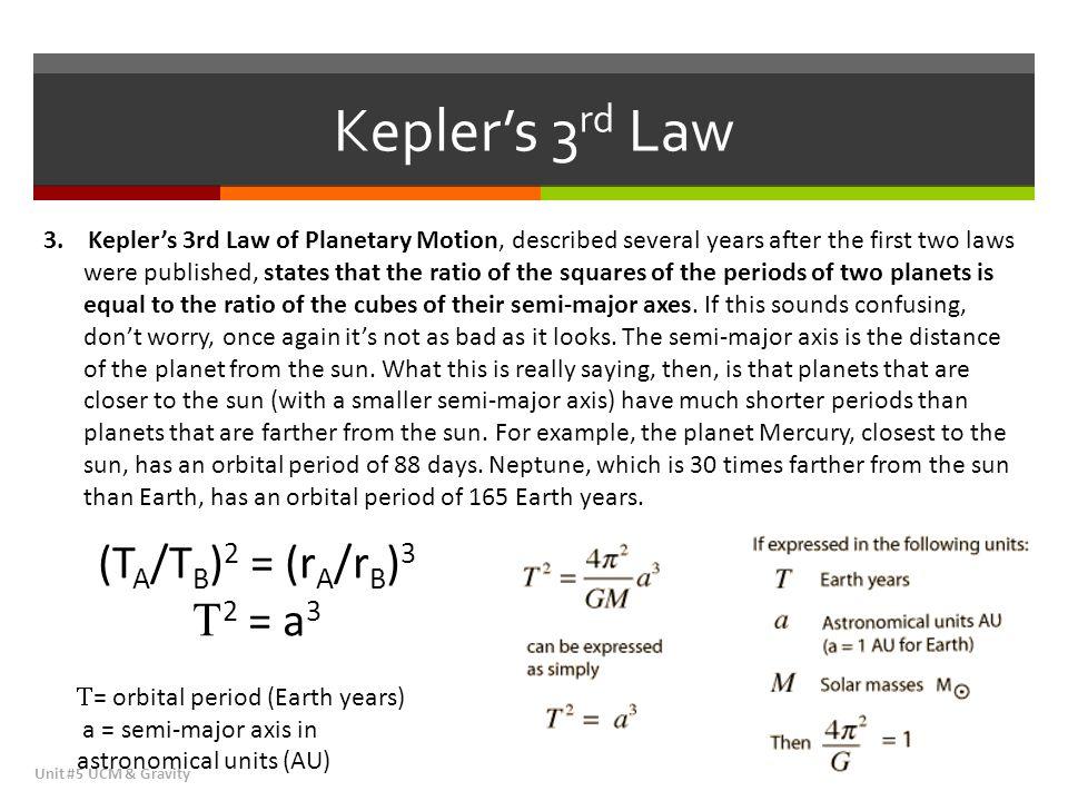 Kepler's 3rd Law (TA/TB)2 = (rA/rB)3 2 = a3