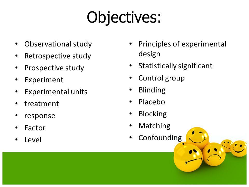 Objectives: Observational study Retrospective study Prospective study