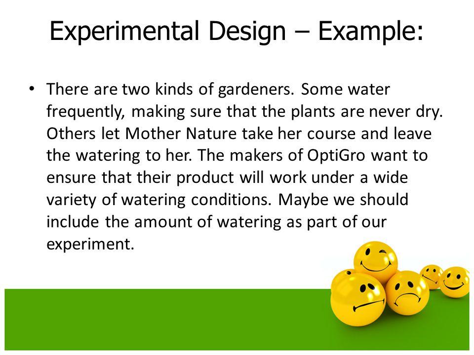 Experimental Design – Example: