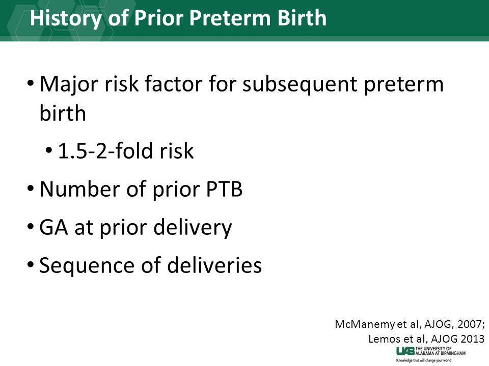 History of Prior Preterm Birth