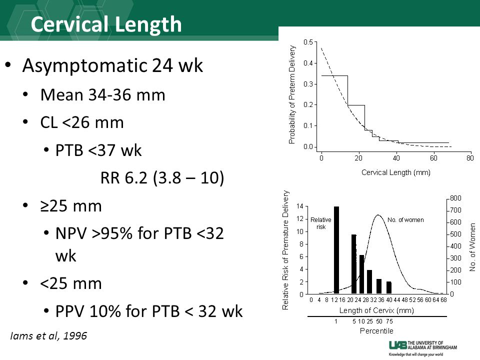 Cervical Length Asymptomatic 24 wk Mean 34-36 mm CL <26 mm