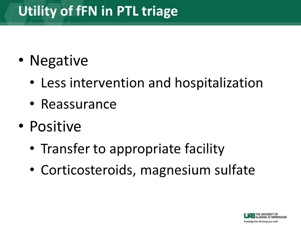 Utility of fFN in PTL triage