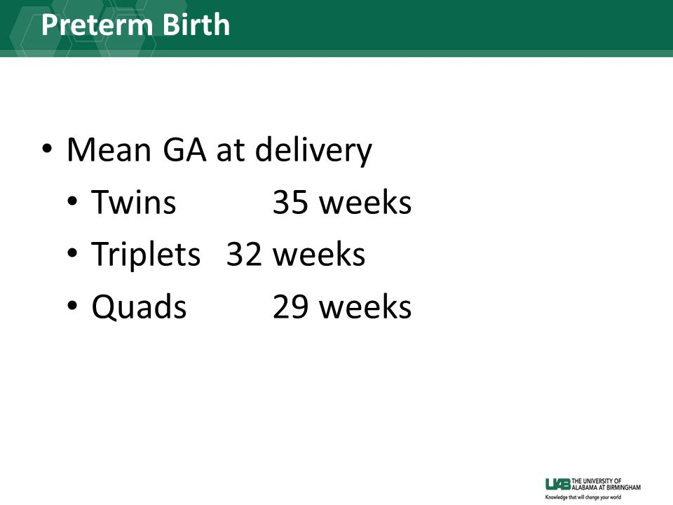 Mean GA at delivery Twins 35 weeks Triplets 32 weeks Quads 29 weeks