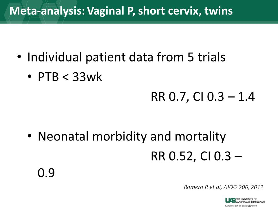 Meta-analysis: Vaginal P, short cervix, twins