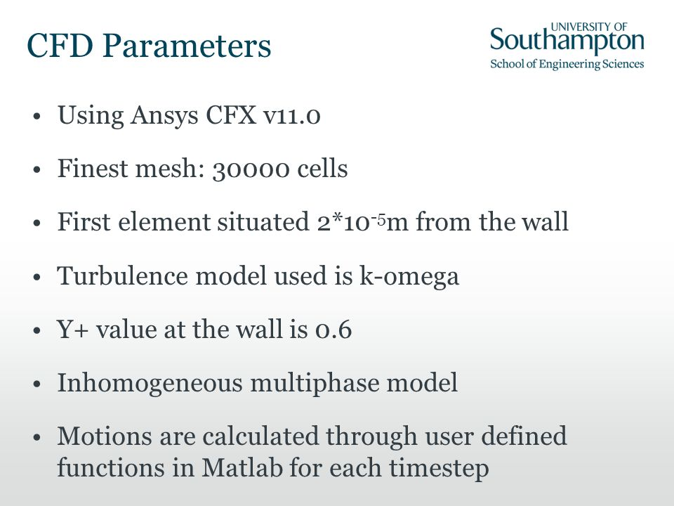 CFD Parameters Using Ansys CFX v11.0 Finest mesh: 30000 cells